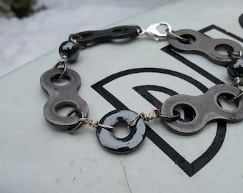 Motorcycle Chain Bracelet With Hematite Stones motorcycle jewelry, biker jewelry, metal jewelry