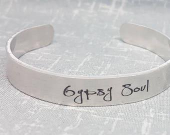 Gypsy Soul - Cuff Bracelet - Inspirational Quote Cuff
