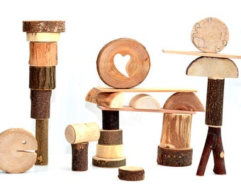 Natural wood toy, 27 tree wood building blocks, Wooden personalized toy, Wooden tree blocks, Waldorf and montessori inspired toy, Kids gift