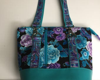 Classic Carry All Handbag, Stunning Teal and Purple Flowers with Teal Vinyl, Zipper Purse