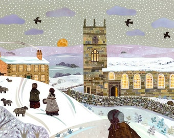 Brontë Sisters Christmas Card·Haworth Parsonage·Naive·Jane Eyre·Wuthering Heights·SnowScene·Amanda White Design·Traditional·Literary Card