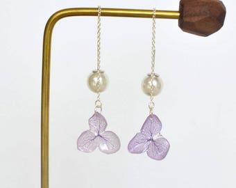 Dry flower earring,hydrangea earrings,threader earrings,girlfriend earrings