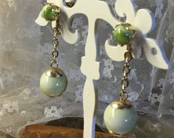 Pastel Green Dangling Lucite Bead Earrings Unsigned Clip On Gold Tone Bead Caps Lucite Cabochons Gold Tone Chain Mod Modern 1960's