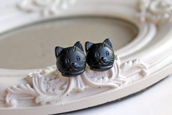 Black Kitty cats  Earrings cute kawaii Halloween