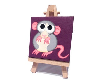 Dumbo Rat Mini Painting - a cute grey and white fancy rat on a purple miniature canvas, choose with easel or ribbon hanging