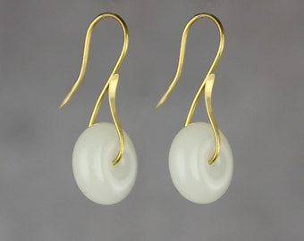14k gold filled white stone hoop earrings Bridesmaids gifts Free US Shipping handmade Anni Designs