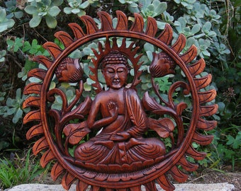 """Buddha Relief Wood Wall Plaque Sitting on Lotus Flower 12"""""""