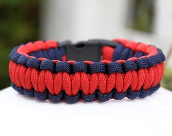 Paracord Survival Bracelet - Navy Blue and Red