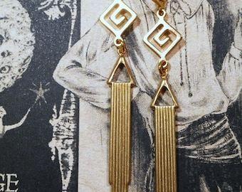 Art Deco Earrings - Flapper Jewelry 1920s - Art Deco Jewelry - Geometric Gold Earrings - 1920s Gatsby Jewelry - Womens Jewelry
