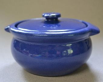 Vintage Cobalt Pottery Covered Dish