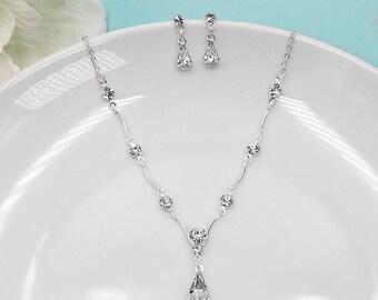 Rhinestone Jewelry Set, Crystal Wedding Necklace Set, bridal jewelry set, wedding jewelry set, bridesmaid jewelry set, Kara Jewelry Set
