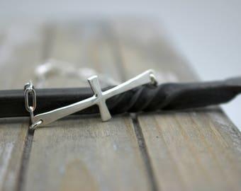 Sterling Silver Sideways Cross Charm Bracelet - Cross chain link bracelet