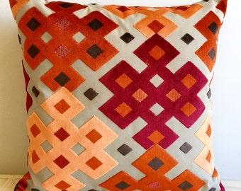 Orange Velvet Pillow Cover,18x18 Pillow Velvet,Orange  Pillow, Designer Pillow, Velvet Pillows, Velvet Cushion Cover,Orange Sofa Pillow