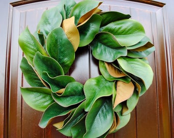 Magnolia wreath~16 inch magnolia leaf wreath~magnolia leaves~farmhouse decor~rustic wreath~greenery wreath~all occasion wreath