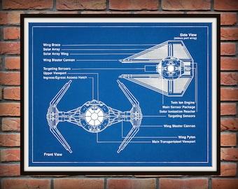 Star Wars Tie Interceptor Drawing - Schematic - Art Print - Movie Poster - Wall Art - George Lucas Film - Return of the Jedi - Tie Fighter