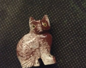 Hand Carved Soapstone Cat Figurine | Home Decorations | Feline | Animal
