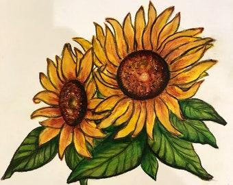 Sunflowers art Original Watercolor.Not A Print.