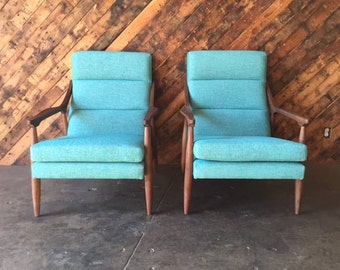 Custom  Teal Danish Mid Century Style Lounge Chair