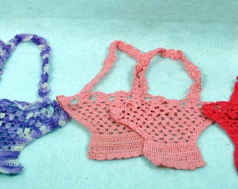 Three sets of Crocheted bags - Two Shades of Pink and Variegated Purple