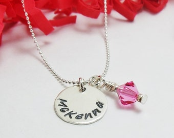 Personalized Name Necklace - Hand Stamped Sterling Silver - Name Birthstone Necklace - Custom Stamped Necklace - Gifts for Her