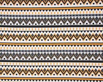 Cotton Jersey waves black ochre Lady kids fabric by the metre
