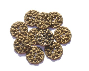 Lot of Vintage Round Brass Metal Ornate Buttons,  3/4 Inch Bronze Buttons, Craft Jewelry, Lot of 10 Buttons