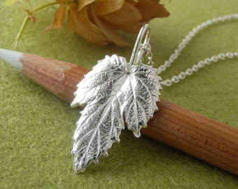 Hop Leaf Jewelry - Pure Silver Real Leaf Pendant, Sterling Silver Chain Necklace, Rare Leaf Jewelry