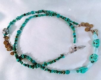 Save 25% Off Now Vintage Coldwater Creek Turquoise Necklace, Long Turquoise Beaded Necklace Gift for Her