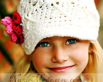 5T-Preteen Girls Hat, Crochet Hat, Newsboy Hat, Newsgirl Hat, White Hat, Child Hat, Girl Hat, Kids Hat, Hat with Flowers, Girl Winter Hat