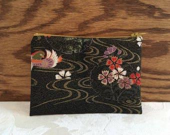 Cute Zipper Coin Purse cosmetic pouch small bag, Vintage Japanese Kimono Fabric, Floral wagara pattern, Handmade