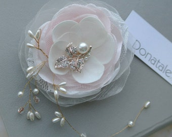 Bridal hair flower ,Wedding hair flower Pink Blush Ivory Champagne Rose gold  Wedding Headpiece Bridal Headpiece,Bridal Hair piece-AMARIS