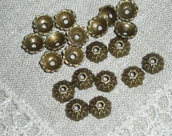 12 Bead caps floral bronze 9 x 3 mm