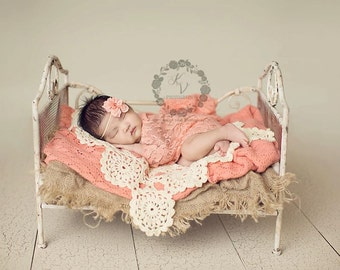 Peach Papaya Stretch Lace Wrap Newborn Photography Prop Baby Swaddle