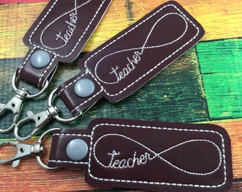 Teacher keyfob - teacher infinity keyring - keychain - clip on keyfob - best gifts - gifts under 10 - gifts for her - teach forever
