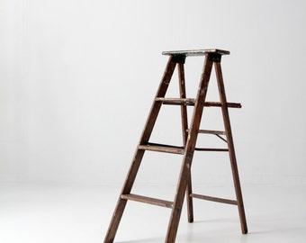 vintage painter's ladder, wood folding ladder