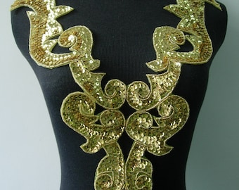 BD02 Large Gold Bodice Sequined Beaded Applique Motif Sew On Dancewear