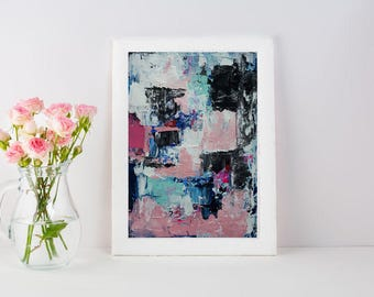 large textured black, white, pink, blue knife painting made to order