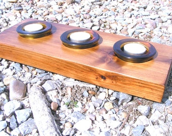 wood candle holder with amber glass tealight votives AND candles 0330