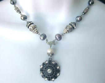 Assemblage Rhinestone Fresh Water Pearl Necklace Pearl Bridal Jewelry Repurposed Vintage Jewelry