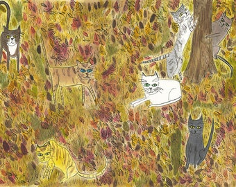 Fall cats, frolicking. Limited edition print by Vivienne Strauss