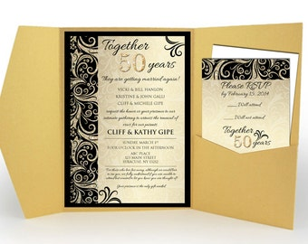 Gold Anniversary, 50th Wedding Anniversary Invitations
