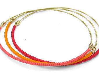 Bangle Bracelet Stack // Set of 3 Bracelets // Gold, Pink, Red & Orange Seed Bead Bangle Bracelets // Recycled Jewelry // Eco-Friendly Gifts