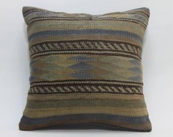 ottoman pillow cover 16x16 geometric kilim pillow vintage kilim pillow vegetable dyes Turkish kilim pillow floor cushion cover 2537