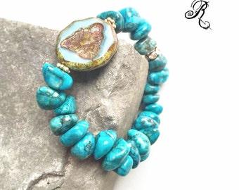 Boho-bracelet with blue azurite semiprecious stone and Buddha from Czech glass , meditation, yoga