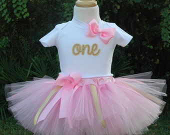 Pink and Gold 1st Birthday girl outfit,first birthday,one year old,pink and gold 1st birthday,1st birthday tutu outfits,1st birthday girl