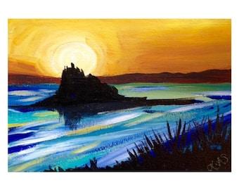 ORIGINAL Acrylic Painting  Artwork Cornish Beach Sunset Silhouette Seascape