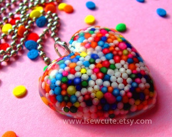 Resin Jewelry - Sugar Love for Your Sweetie - rainbow sprinkles heart shaped candy pendant necklace made with love by isewcute