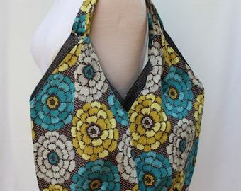Geomtric Floral Print Large Pleated Tote Bag