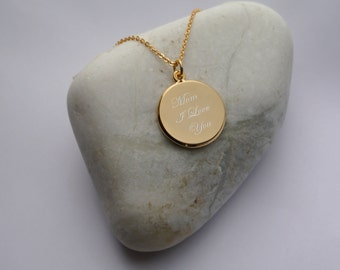 Personalized Gold Circle Pendant Necklace Engraved Free