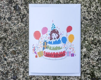 Happy Birthday Greeting Card/Birthday Girl/Cute Card/Girlfriend Card/Sister Card/Friends Card/Best Friend Birthday Card/Daughter Card/Cake